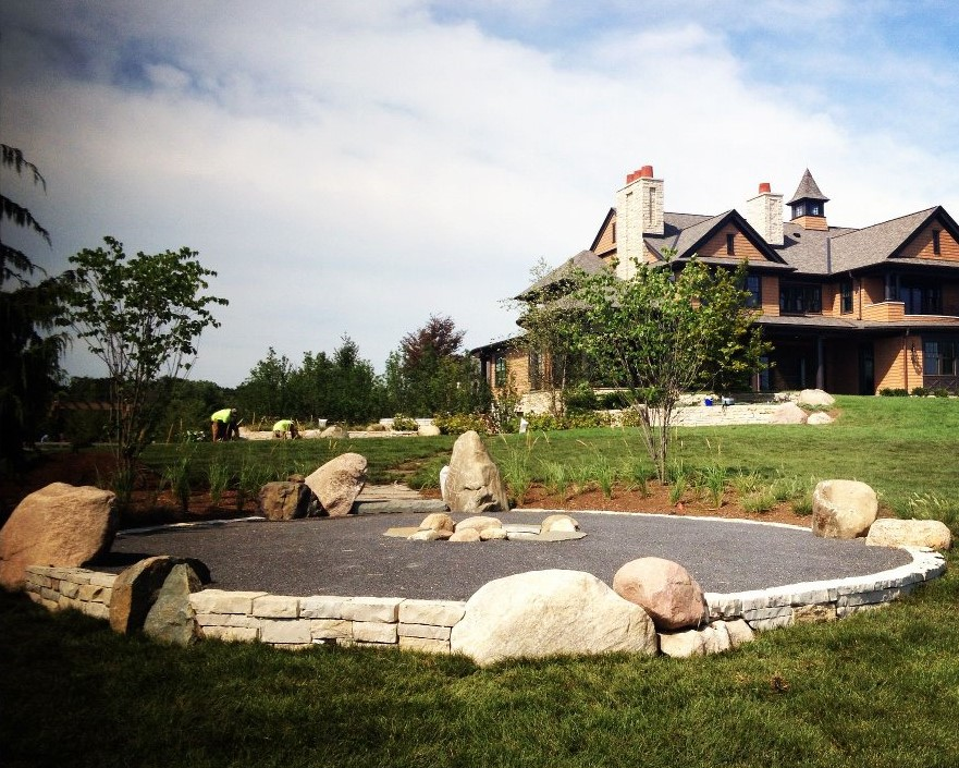 Fire Pit Design Retaining Wall with Crushed Granite Charlevoix