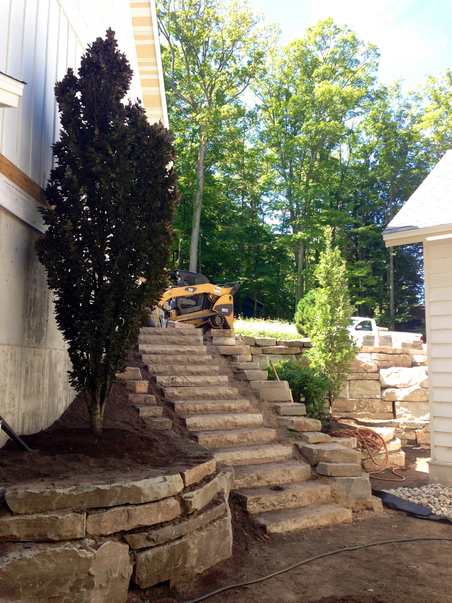 Limestone Retaining Wall and Steps Installation Harbor Springs
