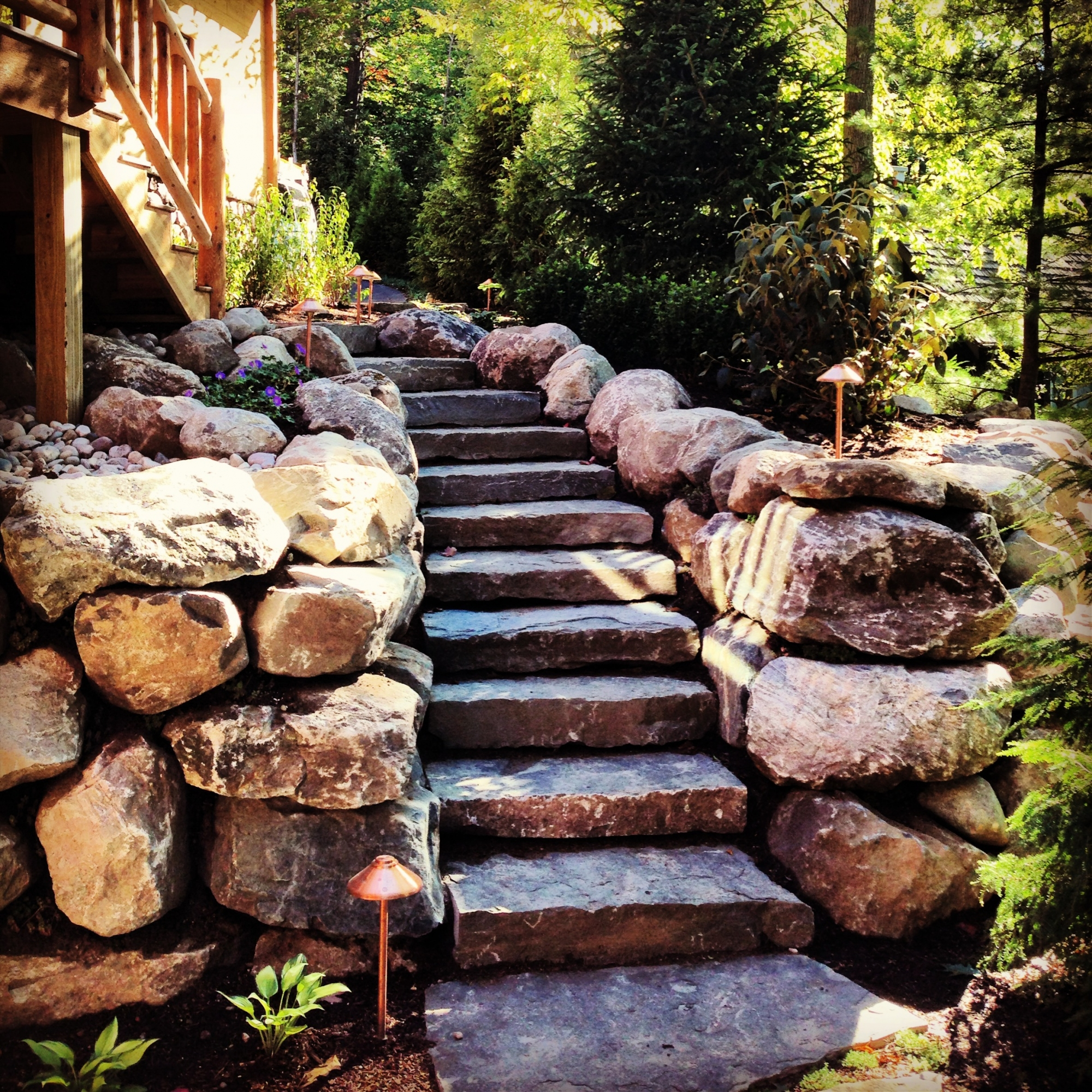 Boulder Retaining Wall Limestone Stairs Torch Lake Michigan