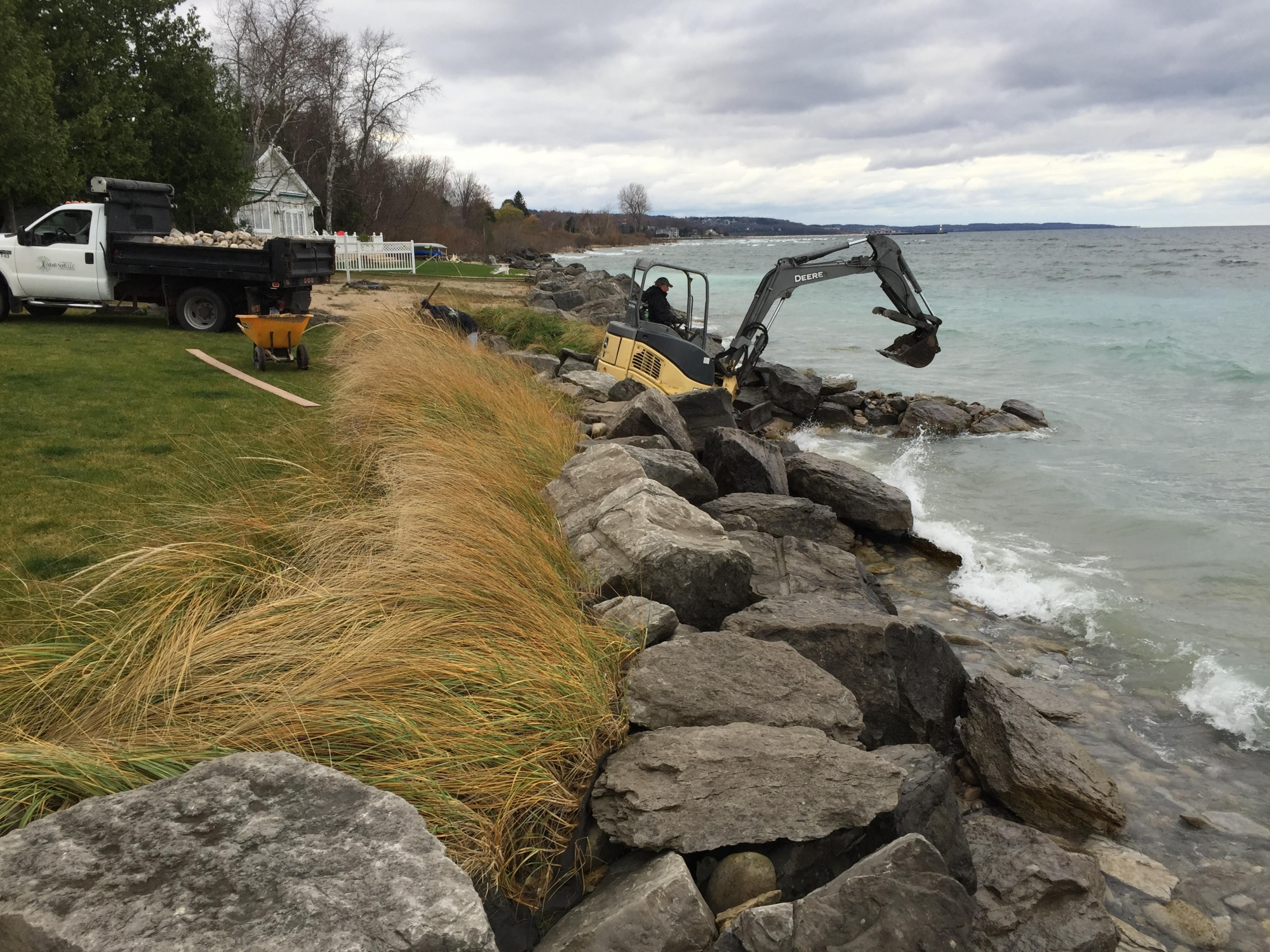 Shoreline Protection and Dunegrass Planting to Prevent Erosion on Lake Michigan