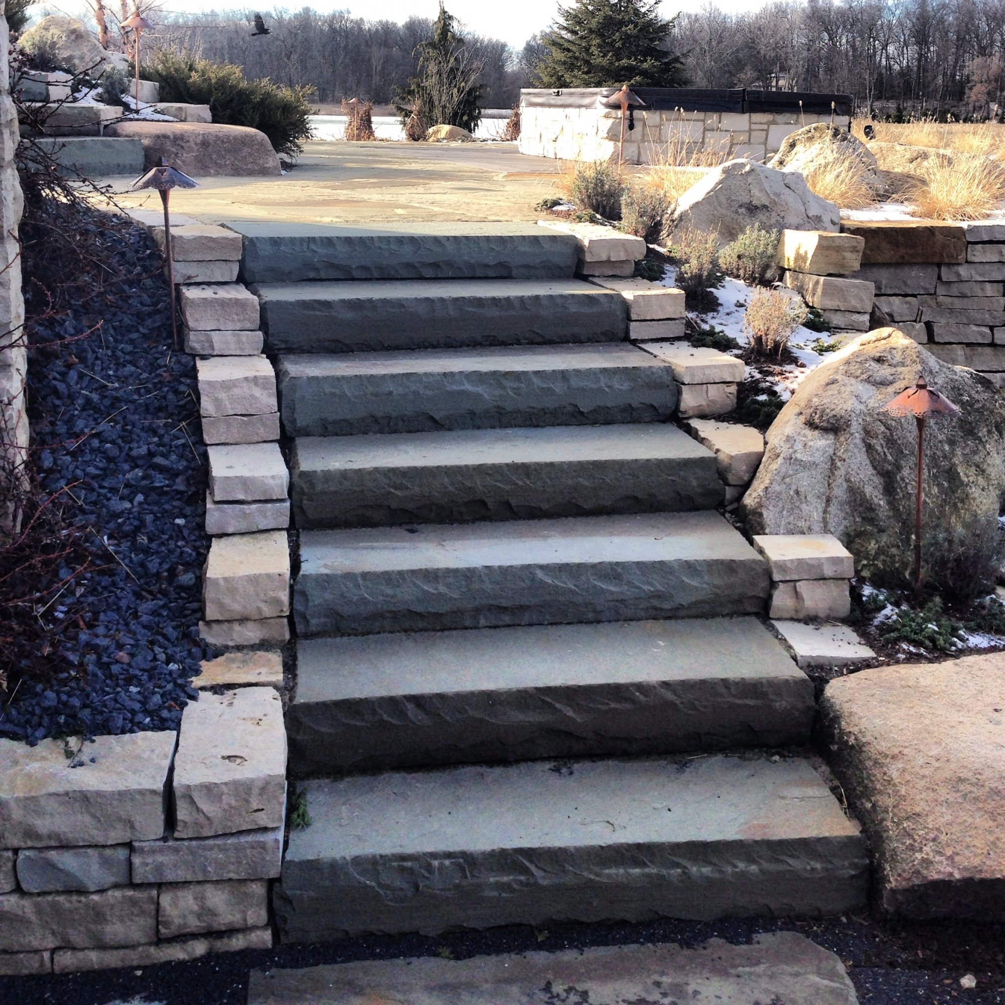 Retaining Wall and Bluestone Steps Torch Lake Michigan